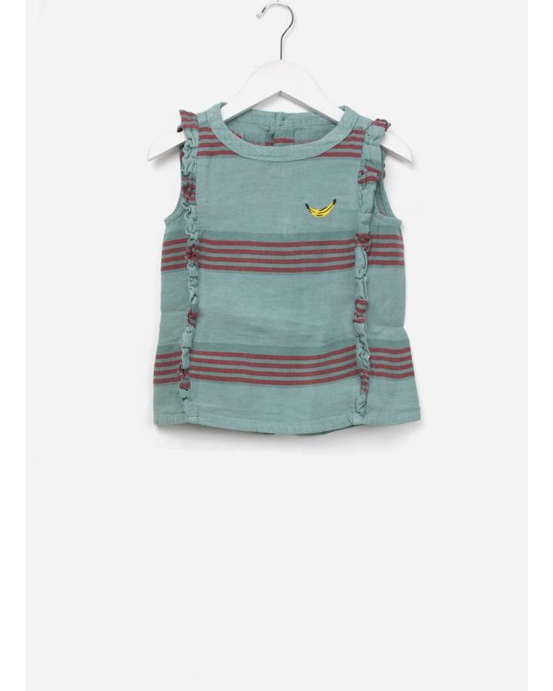 Bobo Choses Striped linen ruffles  shirt
