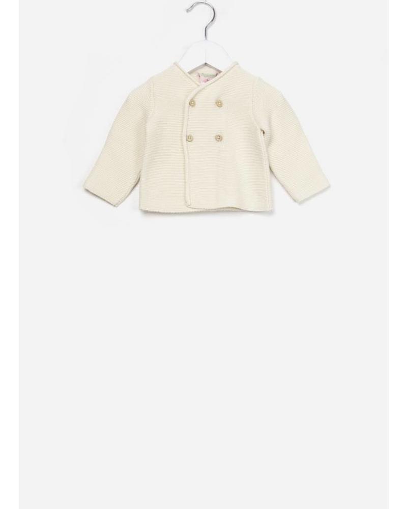 Bonpoint Cardigan coton bio blanc lai