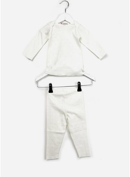 Bonpoint baby pyjama 2-delig creme/stip zilver