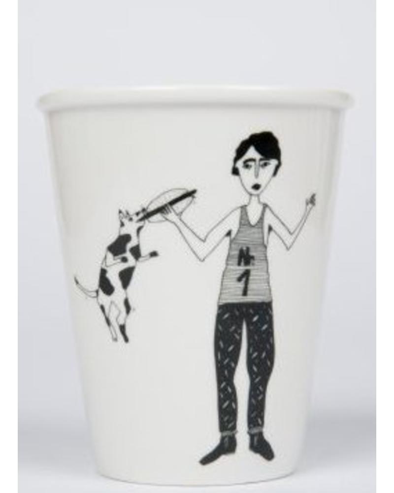 Helen B. cup hotdog man