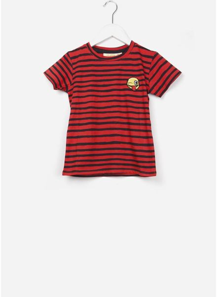 Soft Gallery Bass t-shirt flame scarlet aop ribbon big, smiley emb