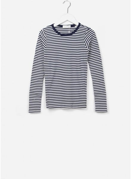 Les Coyotes De Paris Romie shirt off white / navy stripe