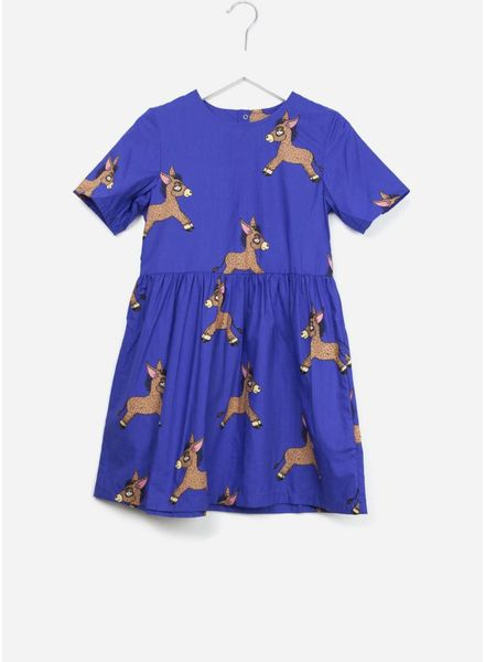 Mini Rodini Donkey woven dress blue