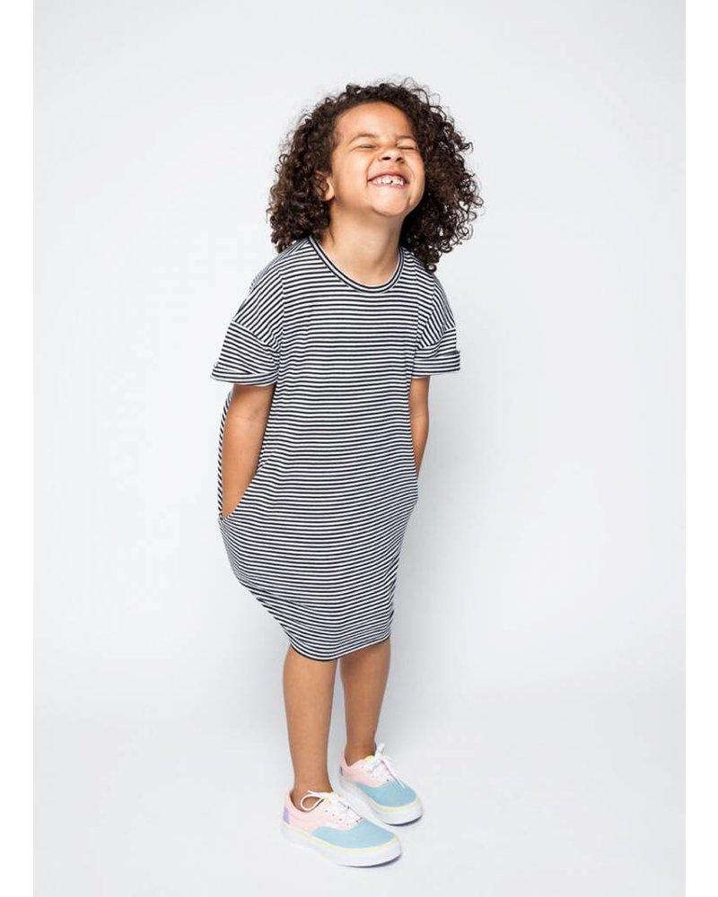 Mingo t-shirt dress b/w stripes jersey