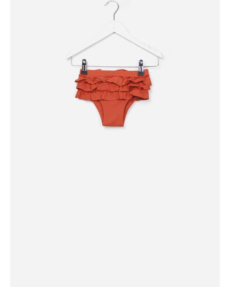 Maed for mini swim short red ruffels