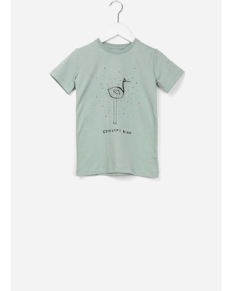 One We Like X Pomme de Jus confetti bird t-shirt jadeite green