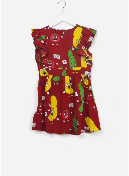 Mini Rodini Veggie woven ruffled dress red