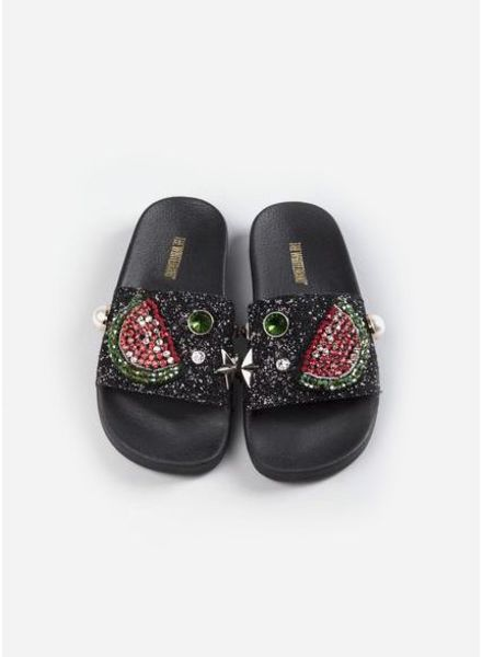 The White Brand Watermelon slippers black