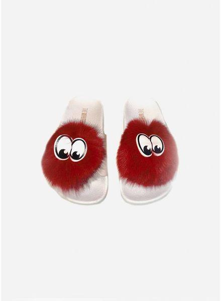 The White Brand Pompon slippers burgundy