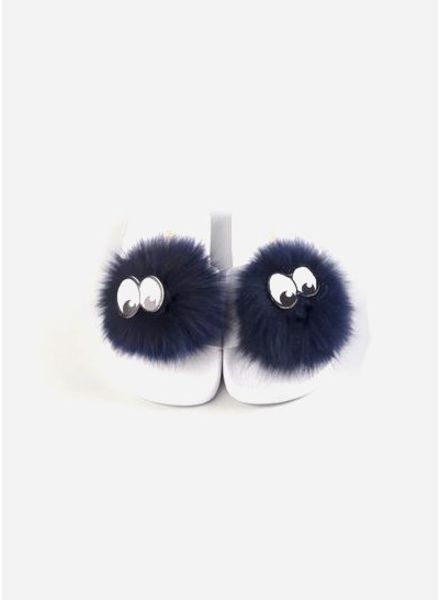 The White Brand Pompon slippers blue