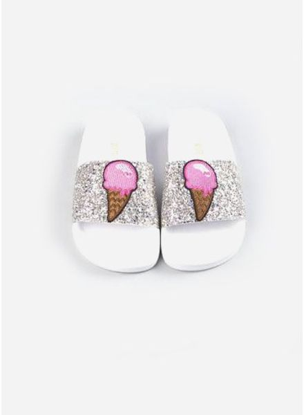 The White Brand Glitter slippers cooper
