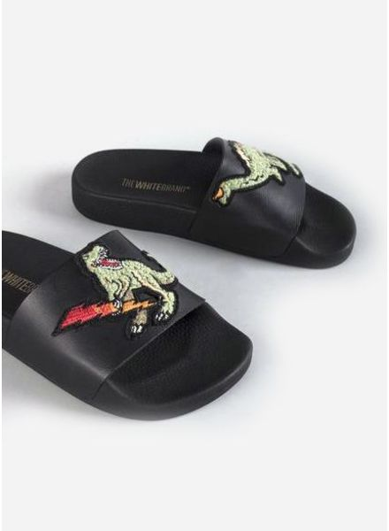 The White Brand Dinosaur slippers black