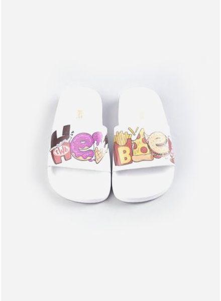 The White Brand Hey Bae slippers white