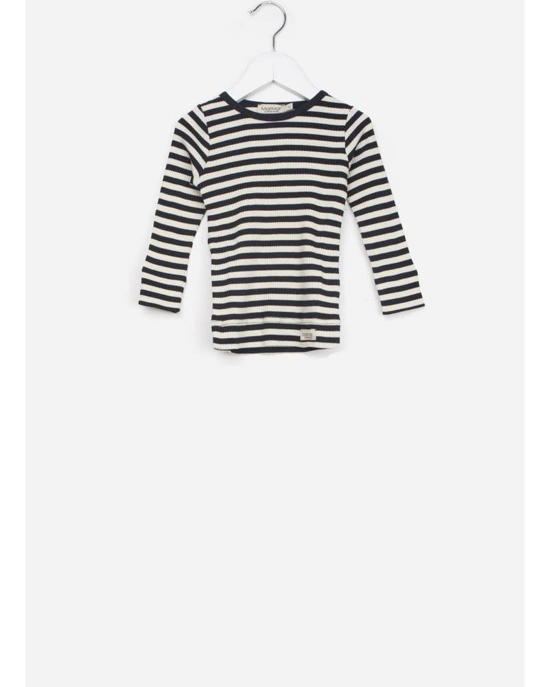 MarMar Copenhagen baby plain tee LS stripes black / off white