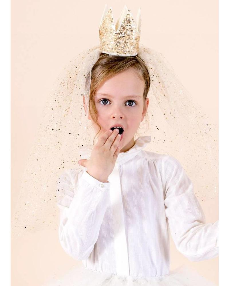 Mimi and Lula sequin crown with veil gold