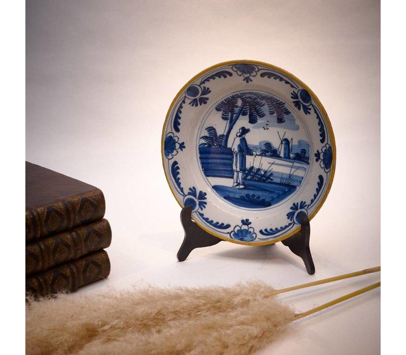 Aardewerk bord Delfts  Blauw 18e eeuw