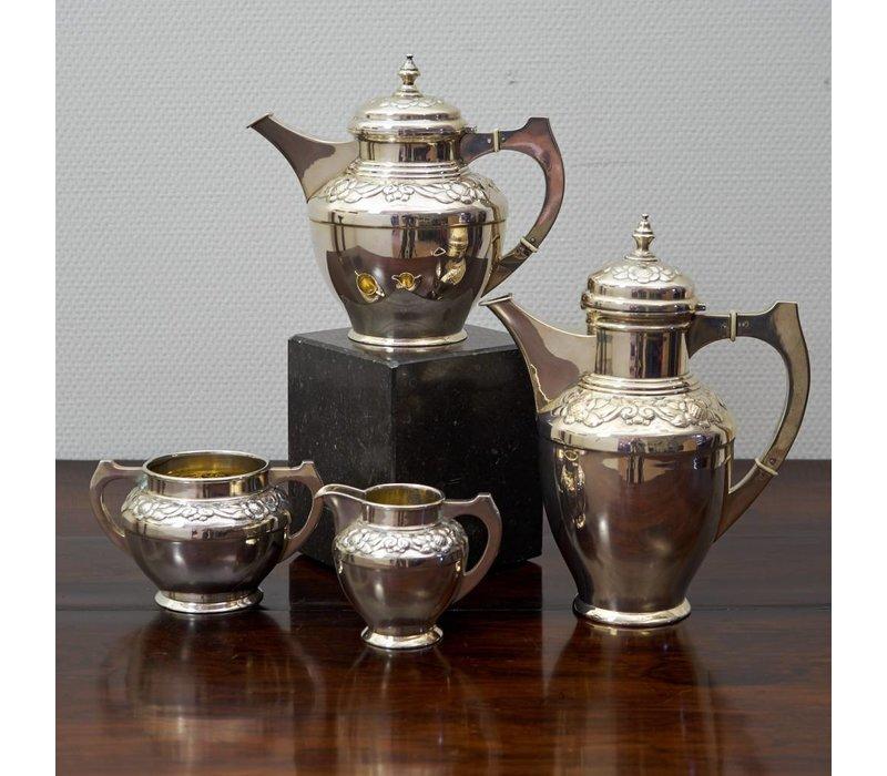 Zilveren 4 delig koffie theeset 1936