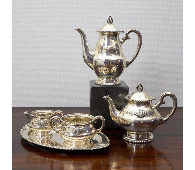 zilveren set 5 delig koffie en thee