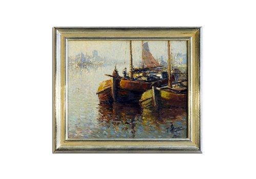 T.Heinemann - 2 boten tegen elkaar in haven