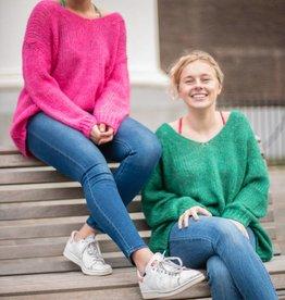 Turquoise trui dubbele V-hals Groen