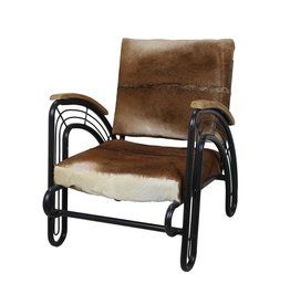 HSM Collection Loungestoel - geitenhuid/zwart metaal