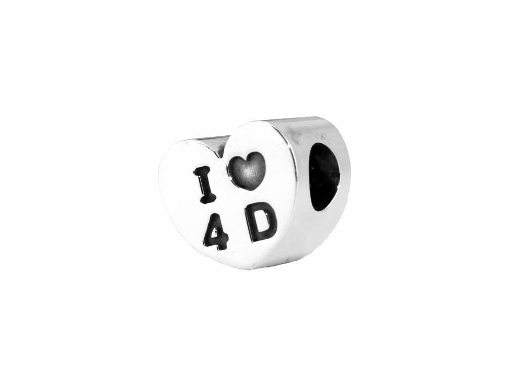 Vierdaagse Bedel I love 4 D bedel (zilver)