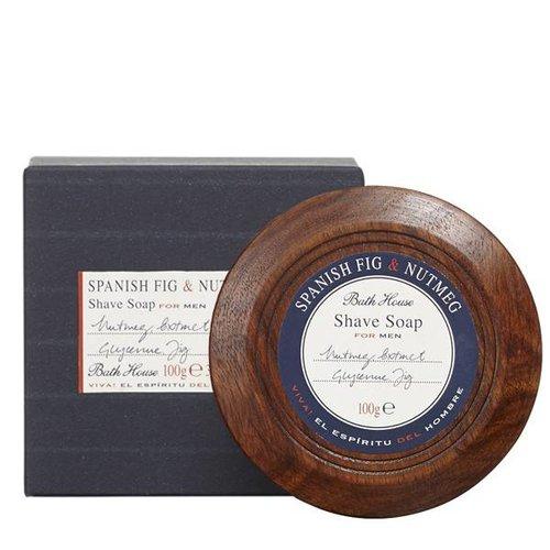 Bath House Shaving Soap in Wooden Bowl