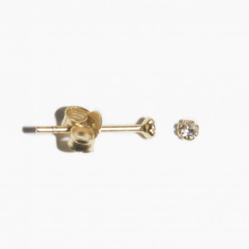 fashionoligy Mini clear quartz stud earpins gold 1 pair