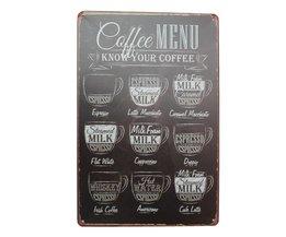 Vintage kaffe väggplåt metall