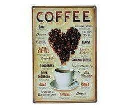 Metall Tennplatta Med Kaffe Design