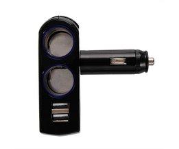 Dual USB Cigarettändare Splitter