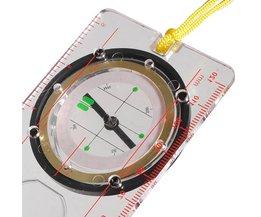 Vätskekompass med linjal, protraktor och förstoringsglas