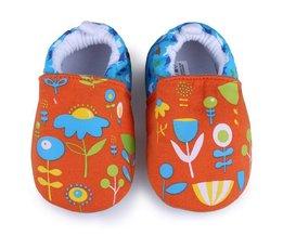 Mjuka skor med blommönster för barn