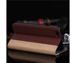 Läderfodral med trämönster för IPhone 6 Plus