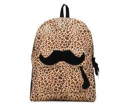 Flickor ryggsäck med leopard tryck och mustasch