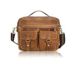Läder Messenger Bag För Män