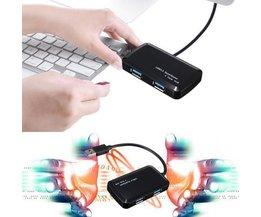 USB-hubb med 4 portar för PC-bärbar dator