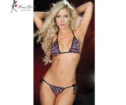 Rosa bikiniset med leopardtryck