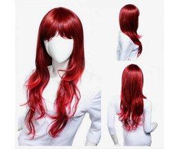 Peruk rött lockigt hår