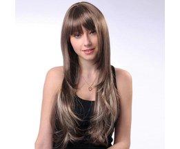 Lång peruk med brunt-grå hår för kvinnor