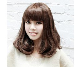 Wig Medium Hair With Bangs And Light Curl