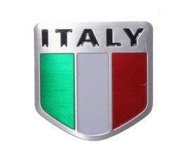 Italiensk flaggbildekal bilmetall