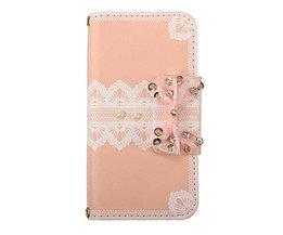 Söt rosa PU läder plånbok fall med båge för IPhone 5 / 5S