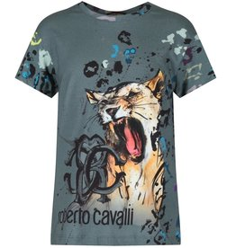 Roberto Cavalli Grey Leopard Print T-Shirt With Branded Text