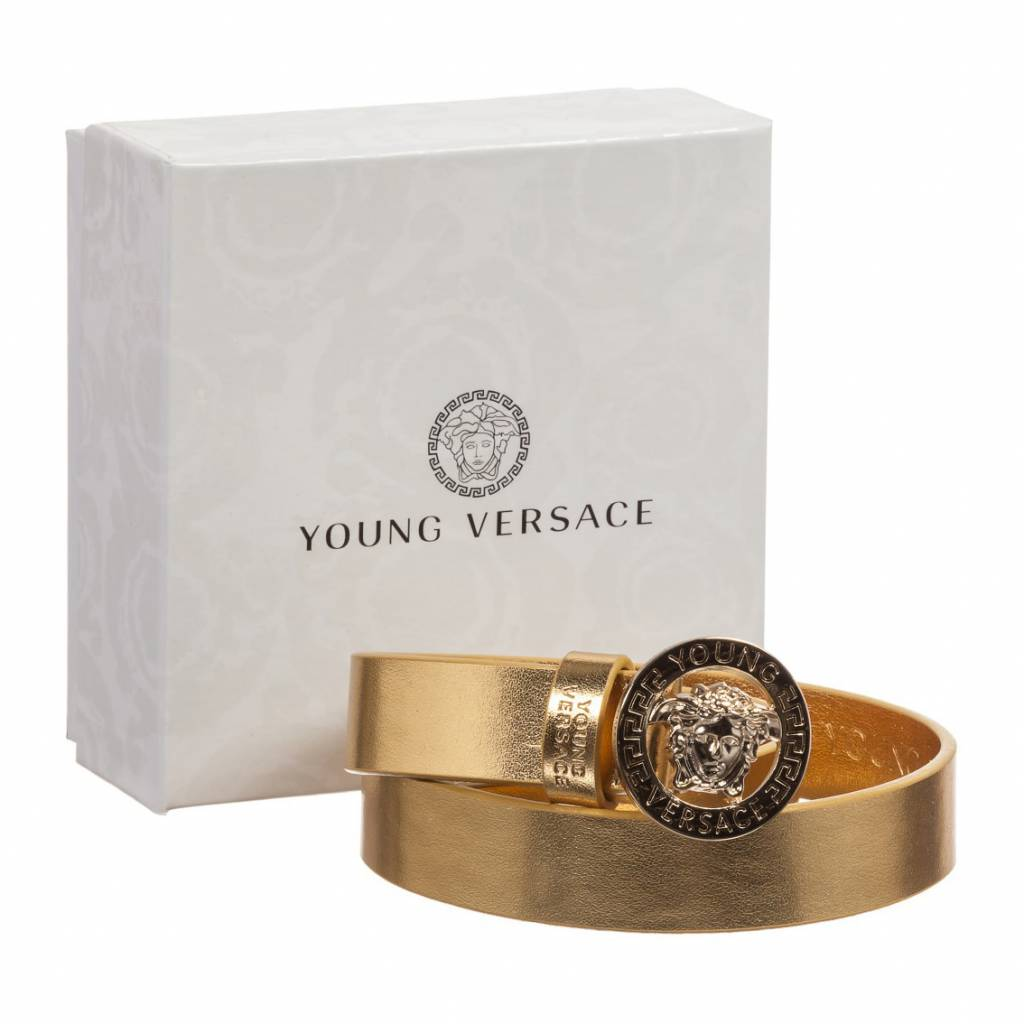 YOUNG VERSACE Girls Metallic Gold Leather Belt and Medusa Clasp