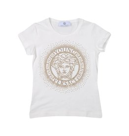 YOUNG VERSACE Embellished Medusa Logo T-Shirt White