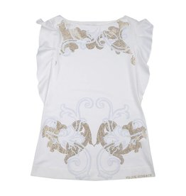 YOUNG VERSACE Girls White Dress With Grey And Gold Stud Baroque Pattern And Frill Sleeves
