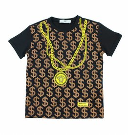 YOUNG VERSACE Dollar T-Shirt Black and Gold