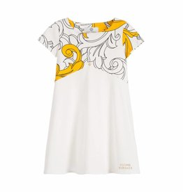 YOUNG VERSACE White & Gold Jersey Baroque Print Dress