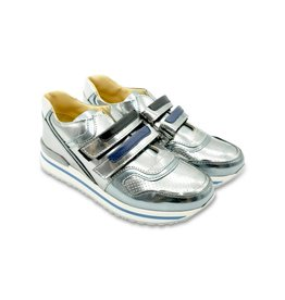 YOUNG VERSACE Glossy Silver Trainers